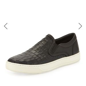 Vince Ace Men's Stamped-Leather Slip-On Sneaker